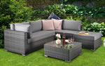 Signature Weave Savannah Grey Corner Sofa Garden Furniture Set