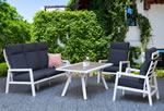 Signature Weave Kimmie White High Back Aluminium Garden Sofa Set