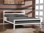 Time Living City Block White Metal Bed Frame
