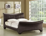 Time Living Wave Brown Faux Leather Sleigh Bed
